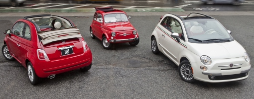 2016 Fiat 500c Pop (left) with 1962 Fiat 500 (center) and 2016 Fiat 500c Lounge (right)
